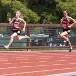 Kellie Schueler and Angela Gradiska compete in the Women's 200m Dash (ALISA ROYER/TheStanfordDaily)