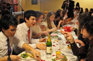 "Freshmen enjoy ""Valentine's Evening at Cafe Wilbur."" (ZETONG LI/The Stanford Daily)"