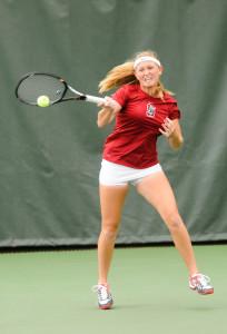Freshman Krista Hardebeck (above) won both her singles matches