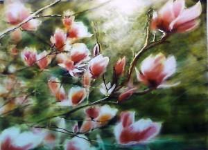 """Magnolia tree near our house"" by Caroline Mustard. Photo by Tara Iyer."