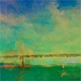 """Bay Bridge Sailboat"" by Christianna Pierc 2013. Courtesy of Pacific Art League. Photo by Tara Iyer."