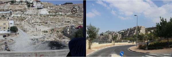Streets in a Palestinian village in East Jerusalem and streets in an Israeli settlement in East Jerusalem.