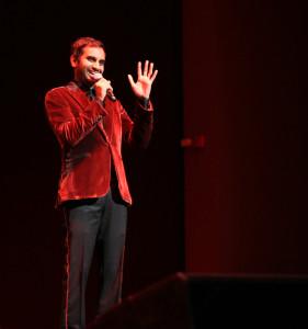 Ansari performed Friday night in Dinkelspiel Auditorium.