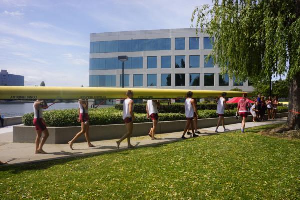 Men's 1V8 boat: (left to right) Scott Roycroft, Austin Hack, Kaess Smit, Dave Dolben, Andrew Gyenis, Robbie Ostrow, Ben Chuter, Nathalie, Weiss (ASHLEY WESTHEM/The Stanford Daily)