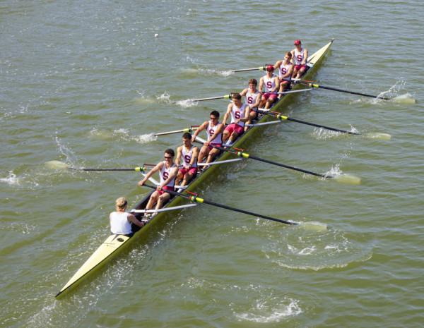 Men's 2V8 boat (ASHLEY WESTHEM/The Stanford Daily)