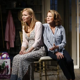 "Jennifer Westfeldt and Linda Lavin in ""Too Much Sun"" at the Vineyard Theatre. Photo Credit: Carol Rosegg."