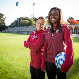 Stanford women's soccer seniors Lo'eau LaBonta (left) and Chioma Ubogagu (right)