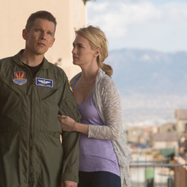 "Ethan Hawke and January Jones in ""Good Kill."" Courtesy of Lorey Sebastian, Clear Skies Nevada, IFC Films"