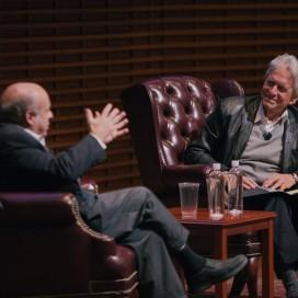 Actor Michael Douglas and Natan Sharvansky speak at an even (Courtesy of Robert Reeves)