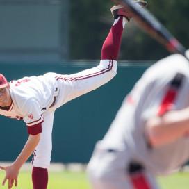 Stanford, CA -- April 19, 2015: Stanford Cardinal vs the Utah Utes at Klein Field at Sunken Diamond.  Utah defeated Stanford 11-3.