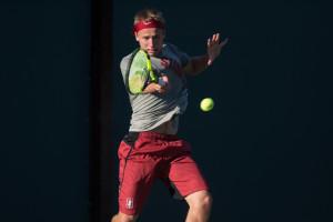 Maciek Romanowicz. Stanford Men's Tennis v. CAL 02/20/16. Photo by (RAHIM ULLAH/The Stanford Daily)