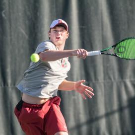 Tom Fawcett. Stanford Men's Tennis v. CAL 02/20/16. Photo by Rahim Ullah