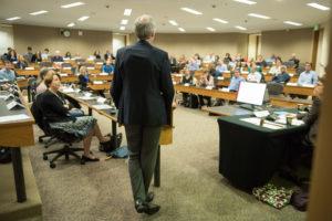 President Marc Tessier-Lavigne speaks before the Faculty Senate. (Courtesy of Linda Cicero)