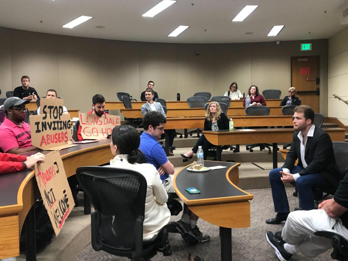 Joe Lonsdale event draws criticism, protest but proceeds as planned