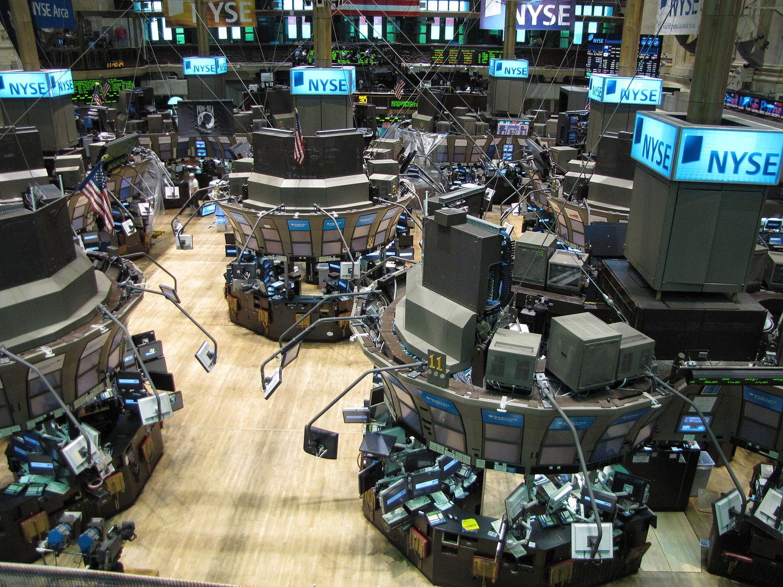 A photo of the empty floor of the New York Stock Exchange