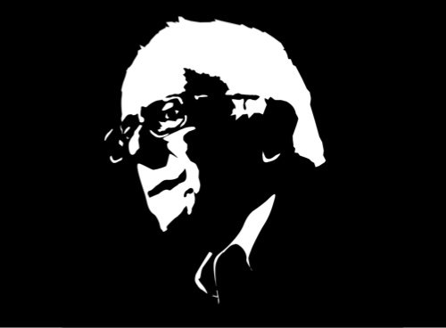A stencil portrait of Bernie Sanders