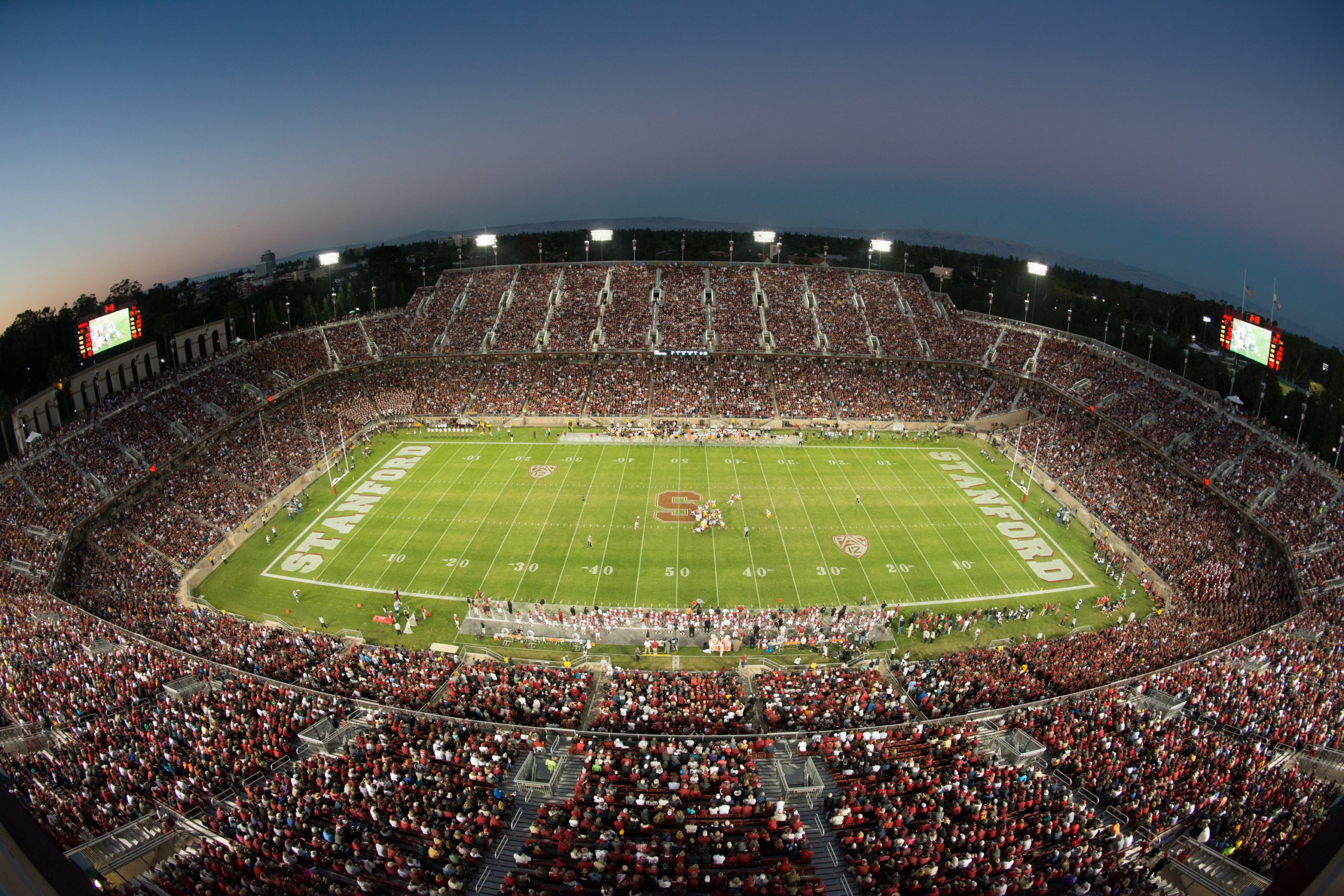 Stanford's football stadium at night..