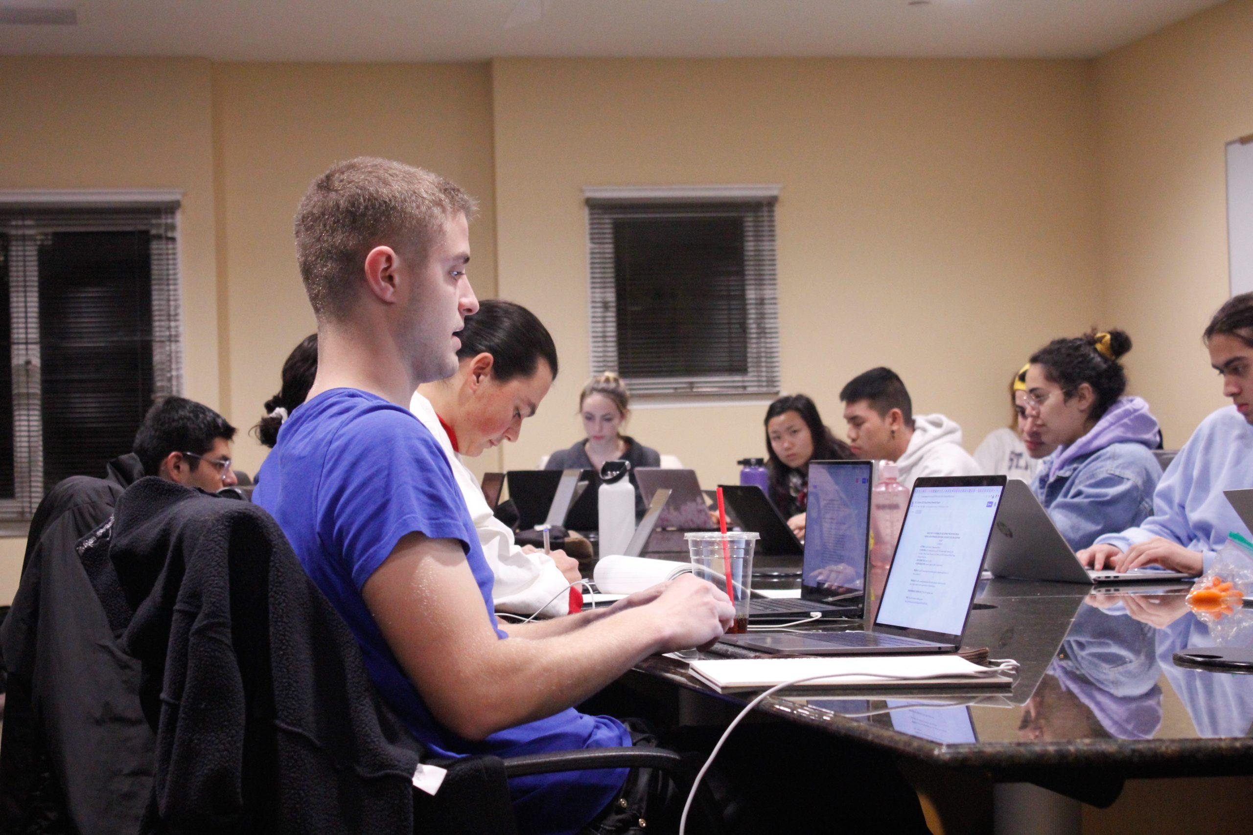 Martin Altenburg '21 sits at an ASSU Undergraduate Senate meeting.