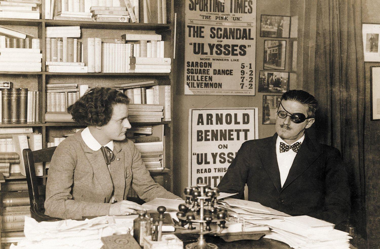 Sylvia Beach and James Joyce at Beach's bookshop, Shakespeare and Company, in 1922