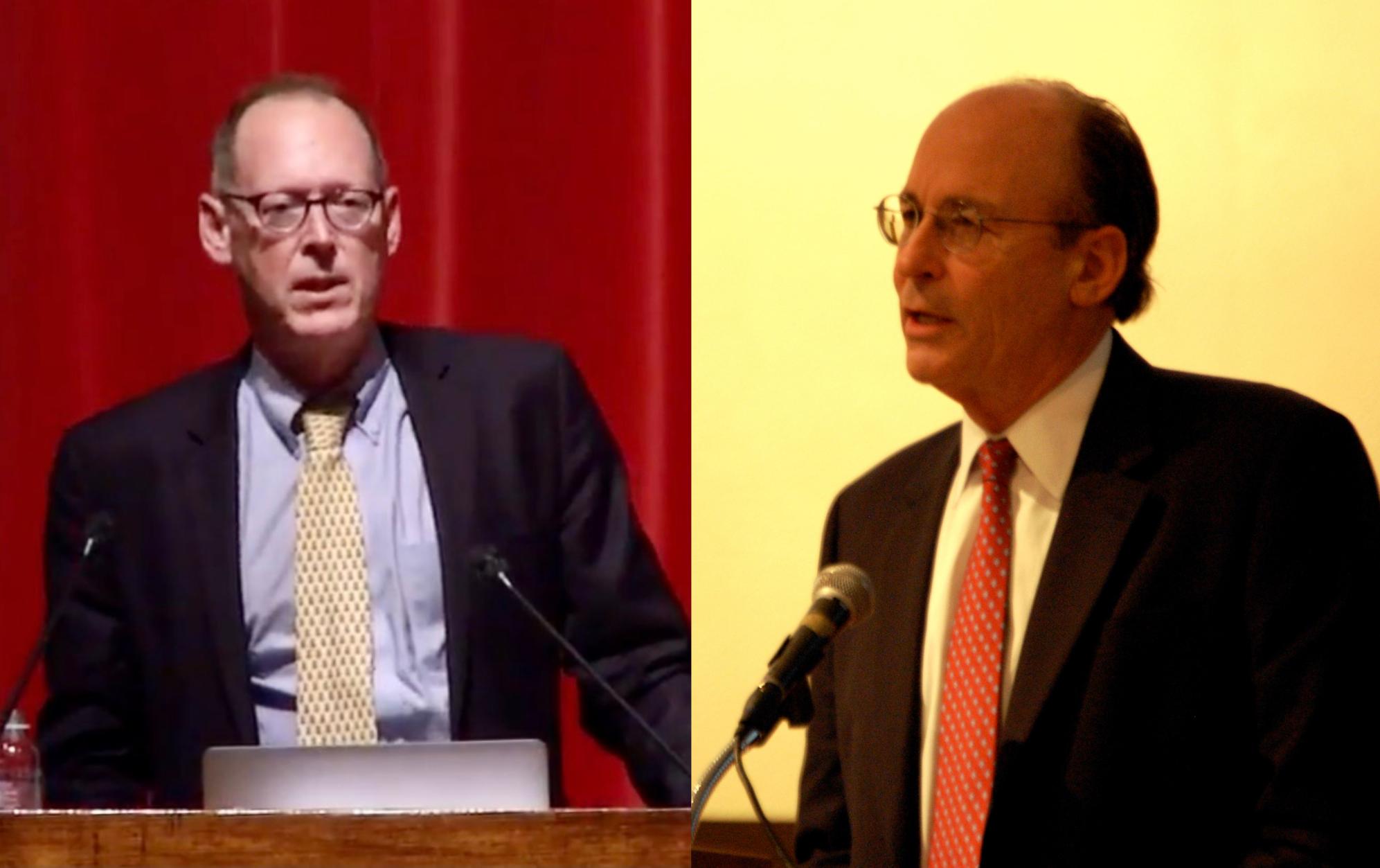 left: photograph of Paul Farmer; right: photograph of Tracy Kidder