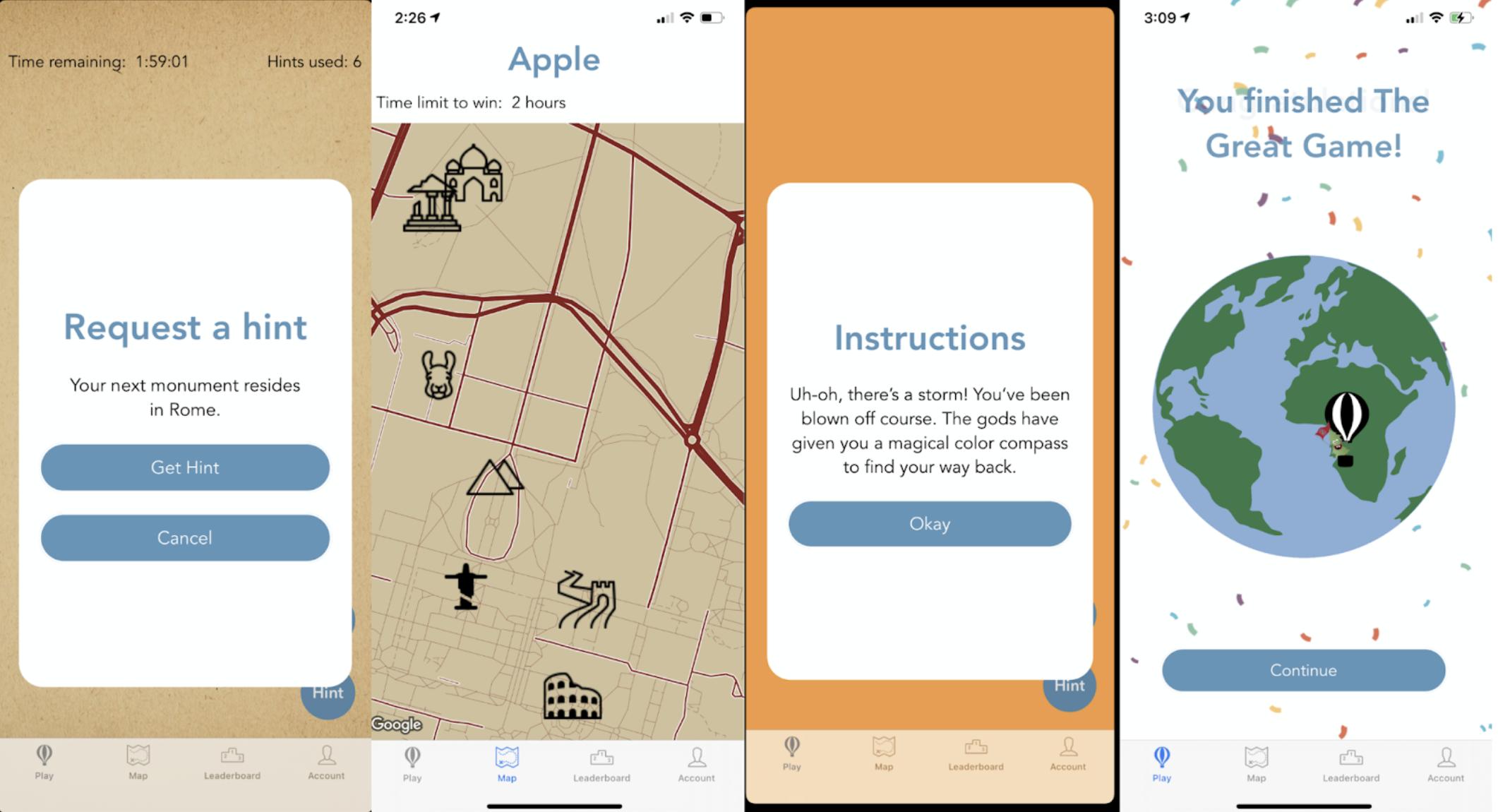 Screenshots of the application screens.