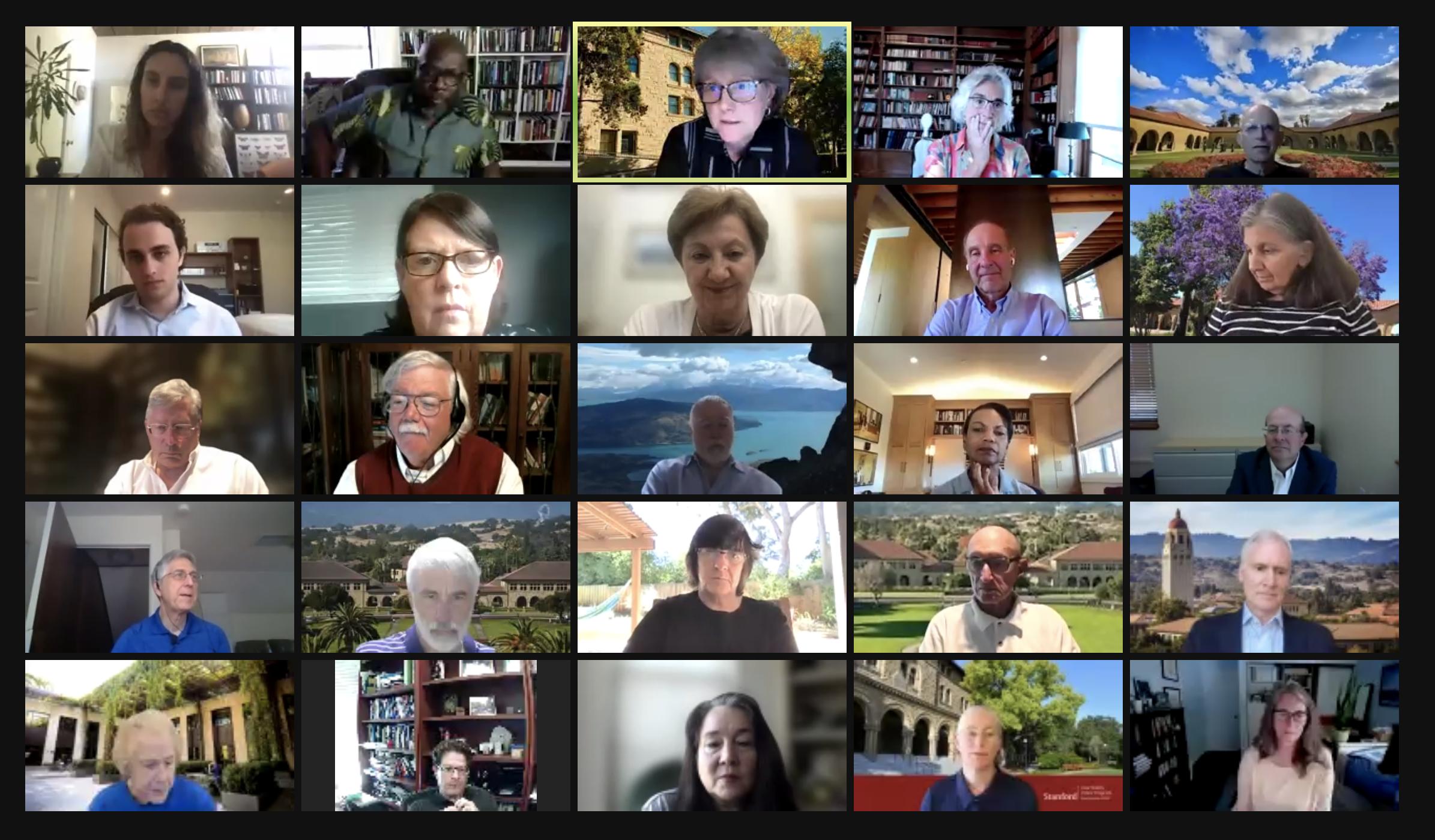 Screenshot of members of the Faculty Senate on Zoom.