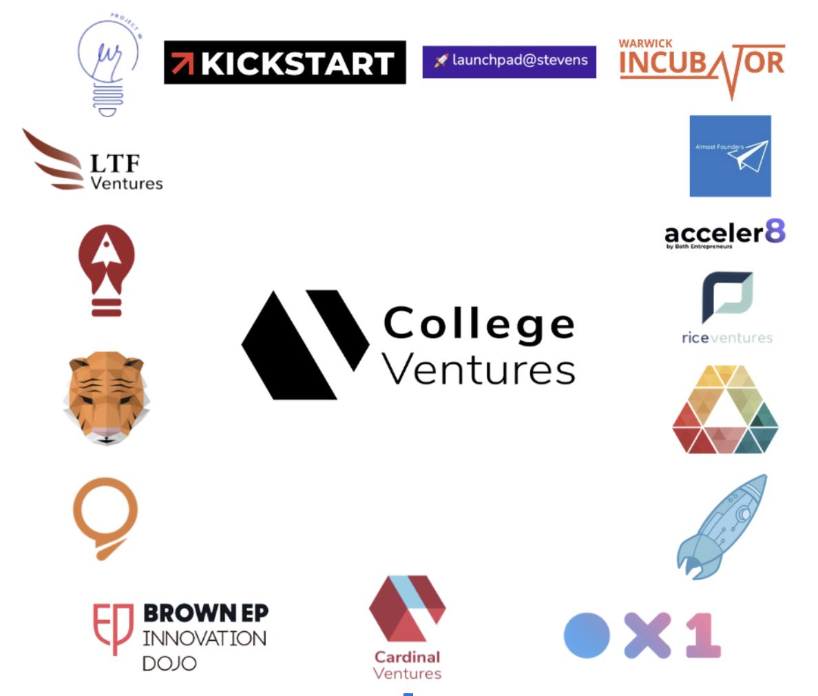 Logos of early College Ventures Network member accelerators