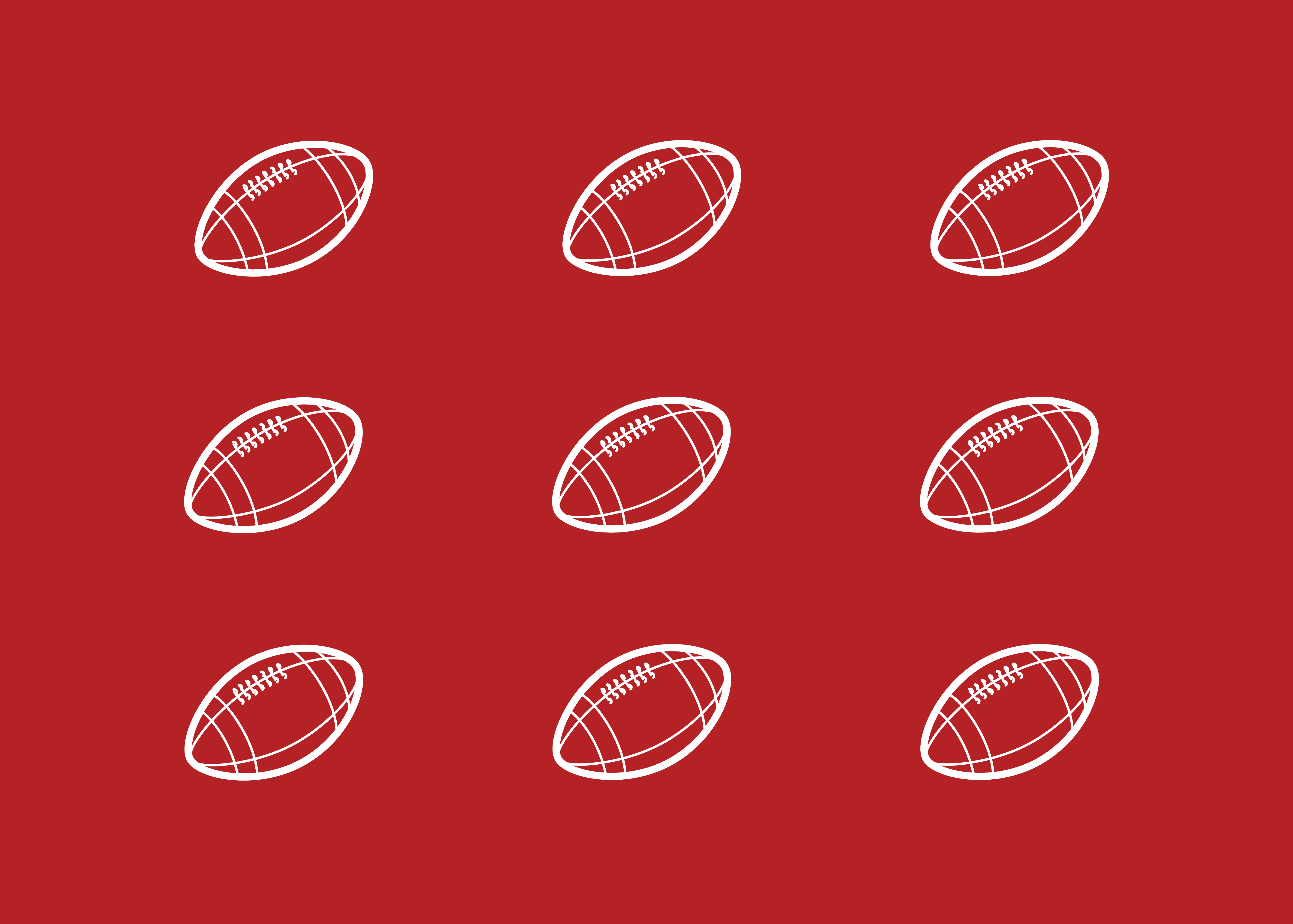 White footballs against red backdrop
