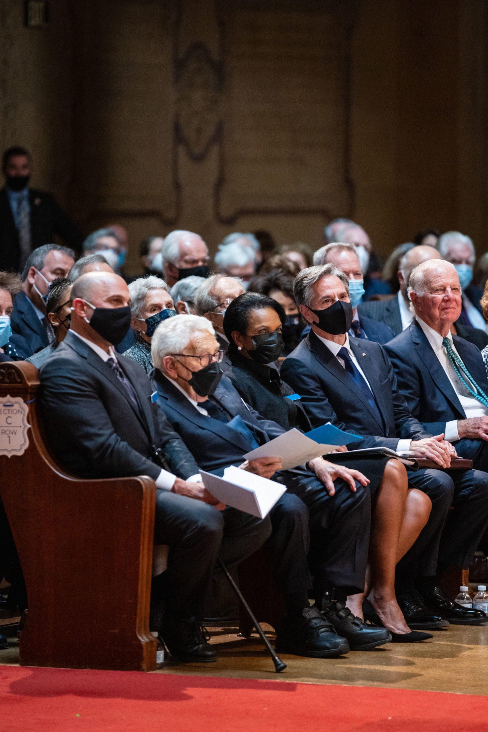 Former U.S. Secretaries of State Henry Kissinger, Condoleezza Rice, James Baker and current Secretary of State Antony Blinken attend George Shultz's memorial service at Memorial Church.