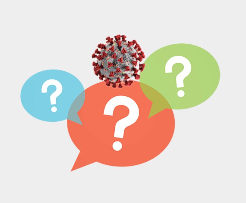 voice bubbles containing question marks surround a SARS-CoV-2 virus particle