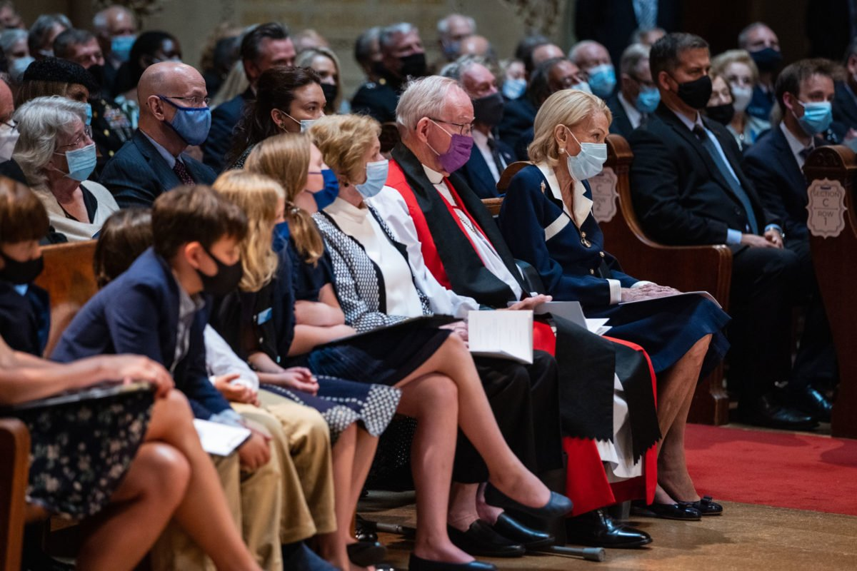 Secretary Shultz's family, including his wife Charlotte Mailliard Shultz, children, grandchildren, gave readings from scripture at his memorial service at Memorial Church.